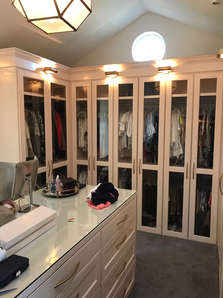 Closet remodel with glass doors