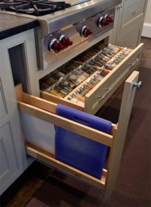 Spice Rack drawer cutting board pull out